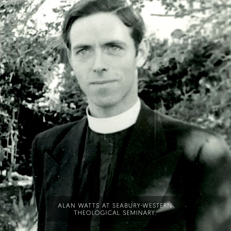 Alan Watts at Seabury Western Theological Seminary.
